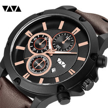 VA VA VOOM Men's Fashion Sport Watches Men Quartz Analog Date Clock Man Leather Military Waterproof Watch Relogio Masculino 2019 все цены