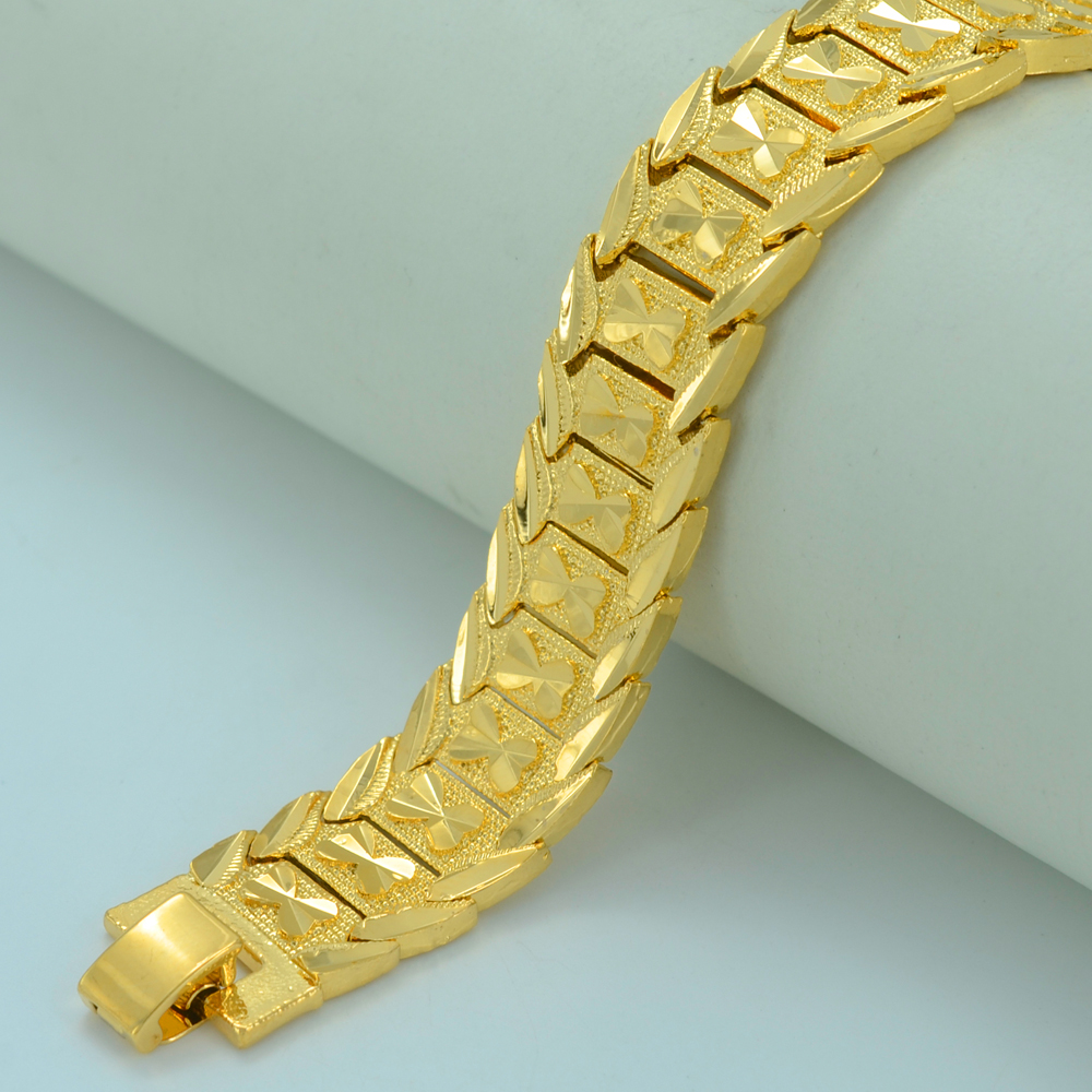 Anniyo 21CM,Men Bracelet Gold Color Brass