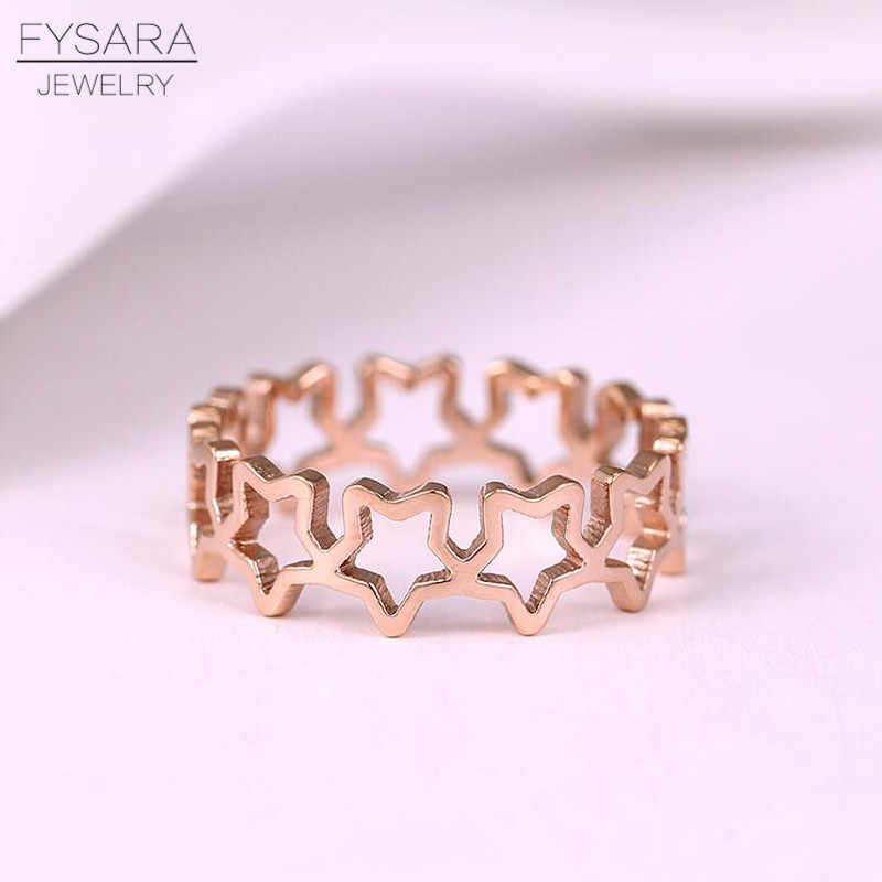 FYSARA Fashion Jewelry Stackable Star Rings For Women Party Wedding Rose Gold Color Rings Stainless Steel Hollow Finger Rings