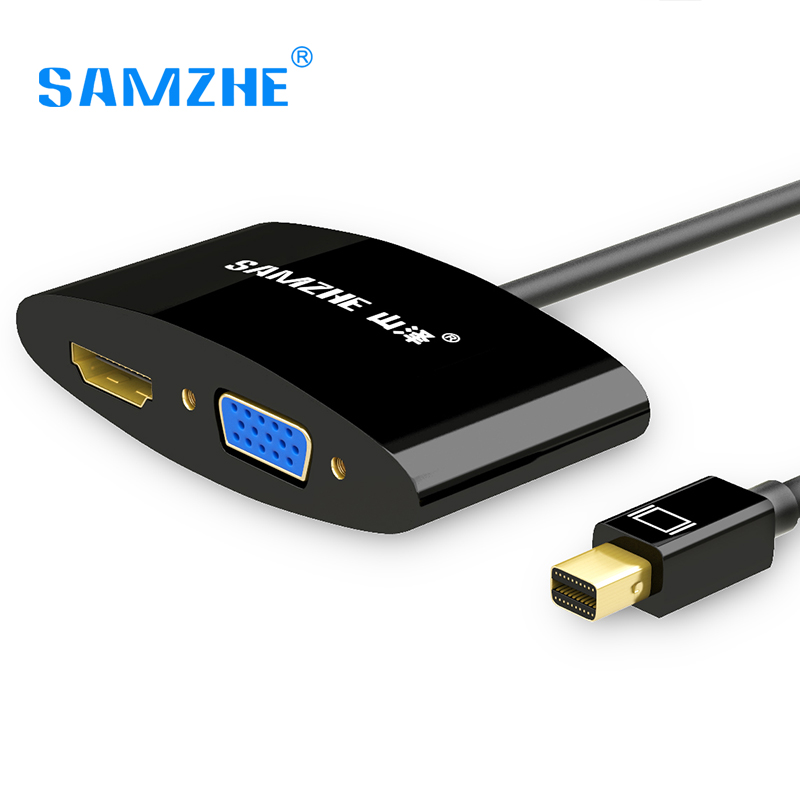 Samzhe mini dp thunderbolt to hdmi vga two in one cable for Mini projector for macbook