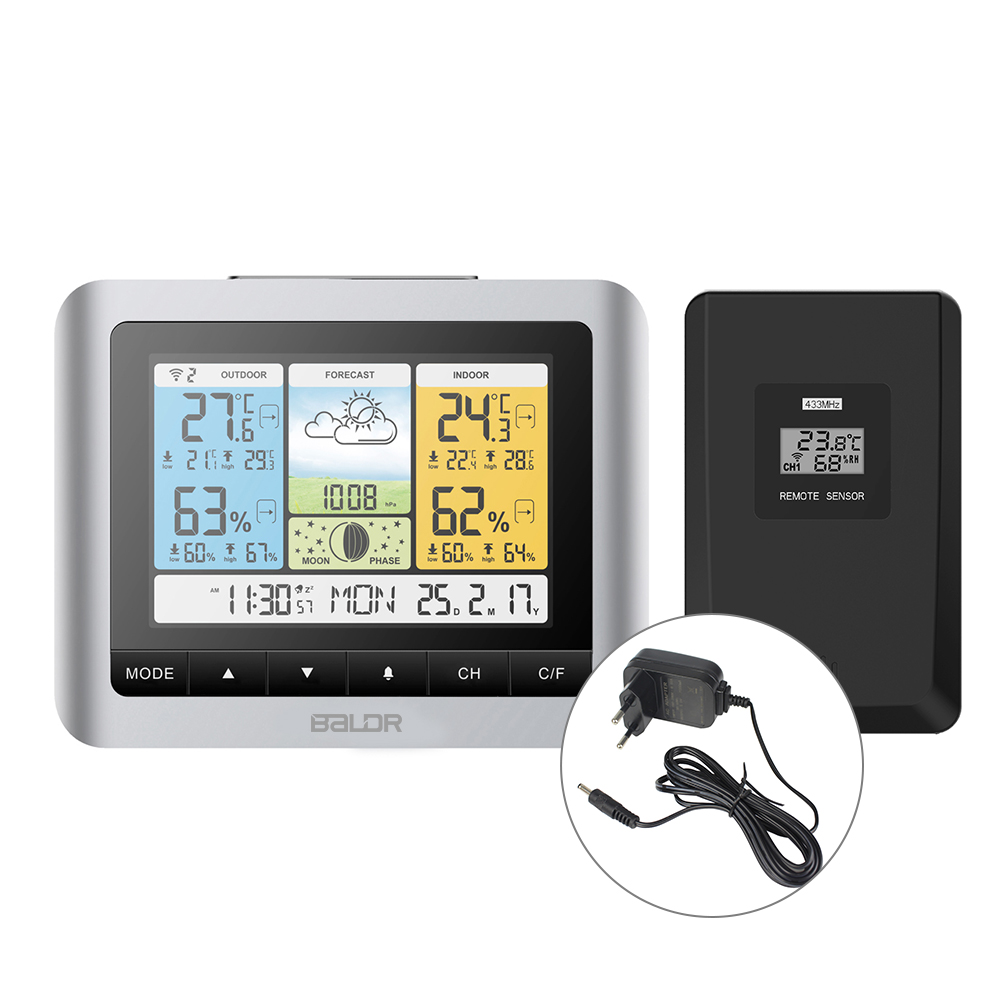 Baldr Wireless Weather Station Temperature Sensor Barometer  Forecast  Digital Outdoor Indoor Thermometer Hygrometer Alarm  Clockindoor outdoorthermometer wallwall thermometer