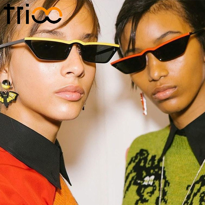 6c9061a7b1f TRIOO 2018 Trending Retro Small Sunglasses Narrow Design Vintage Sun  Glasses for women Half Style Oculos