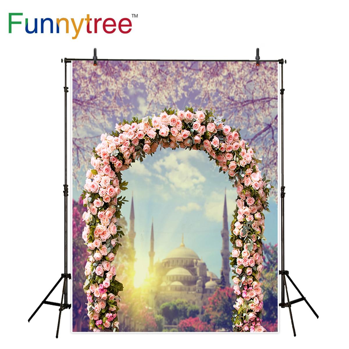 Bokeh Flowers Wedding: Funnytree Backdrop For Photo Studio Pink Flower Door