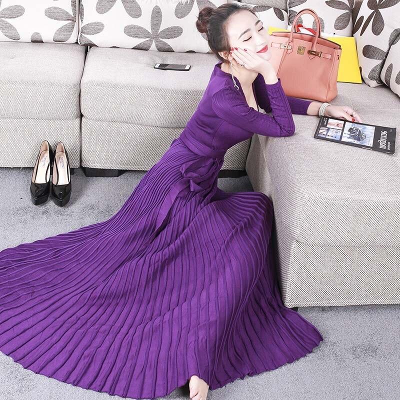 Femmes robes nouveauté 2019 noir/bordeaux/violet robe tricotée sexy profonde col en v cravate ceinture à manches longues plissée maxi robe