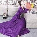 Женские платья, Новое поступление 2020, черное/бордовое/фиолетовое трикотажное платье, сексуальное Плиссированное Макси-платье с глубоким v-о...