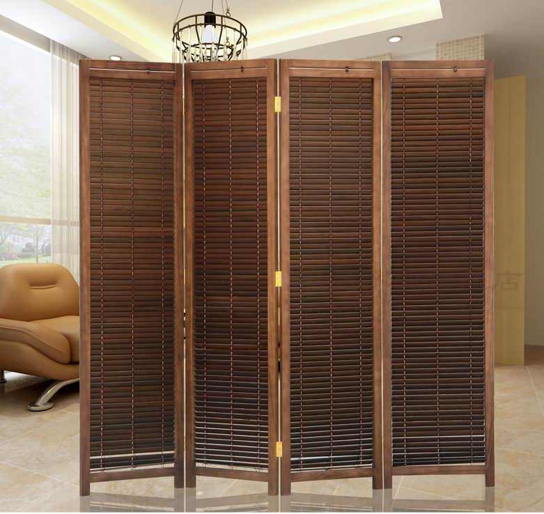 oriental japanese style 4panel wood folding screen room divider home decor decorative portable asian