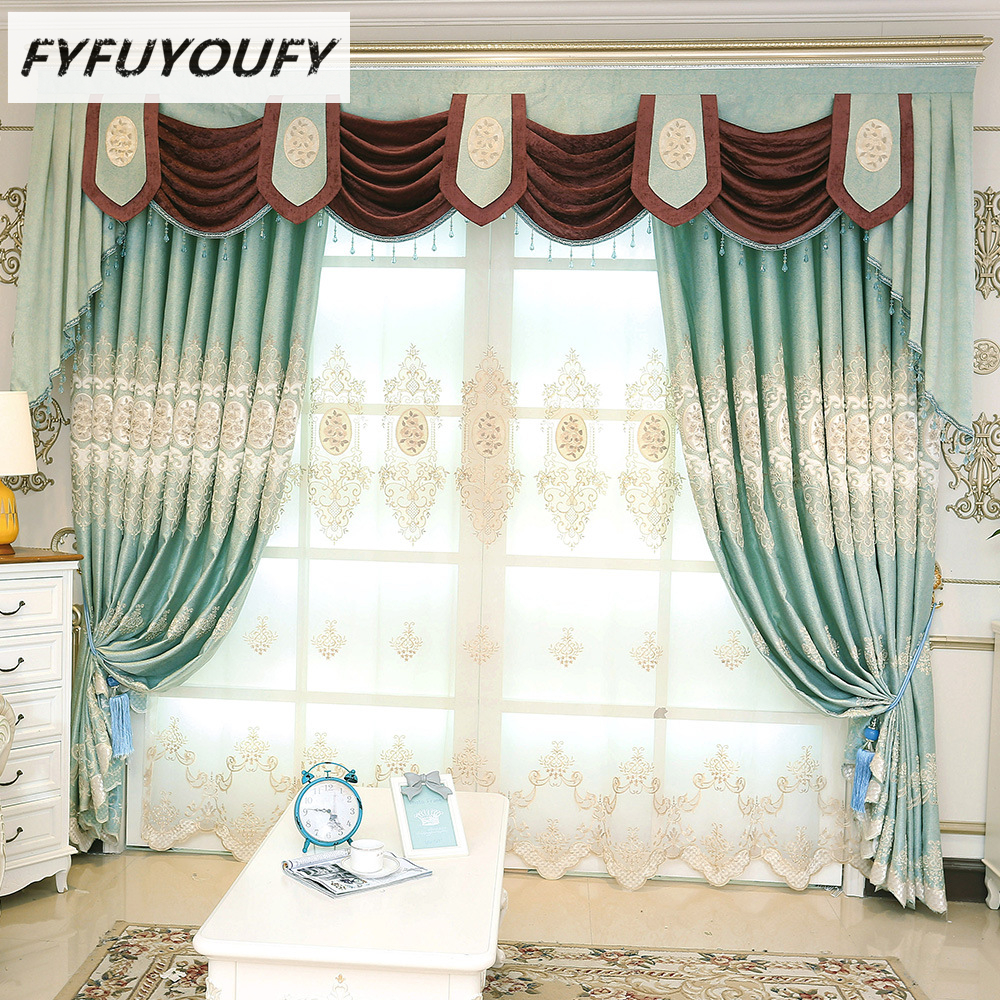 Polyester luxury Embroidered Decoration Blackout curtains screen the curtains in the Livingroom Flat Window can Customizable-in Curtains from Home & ...