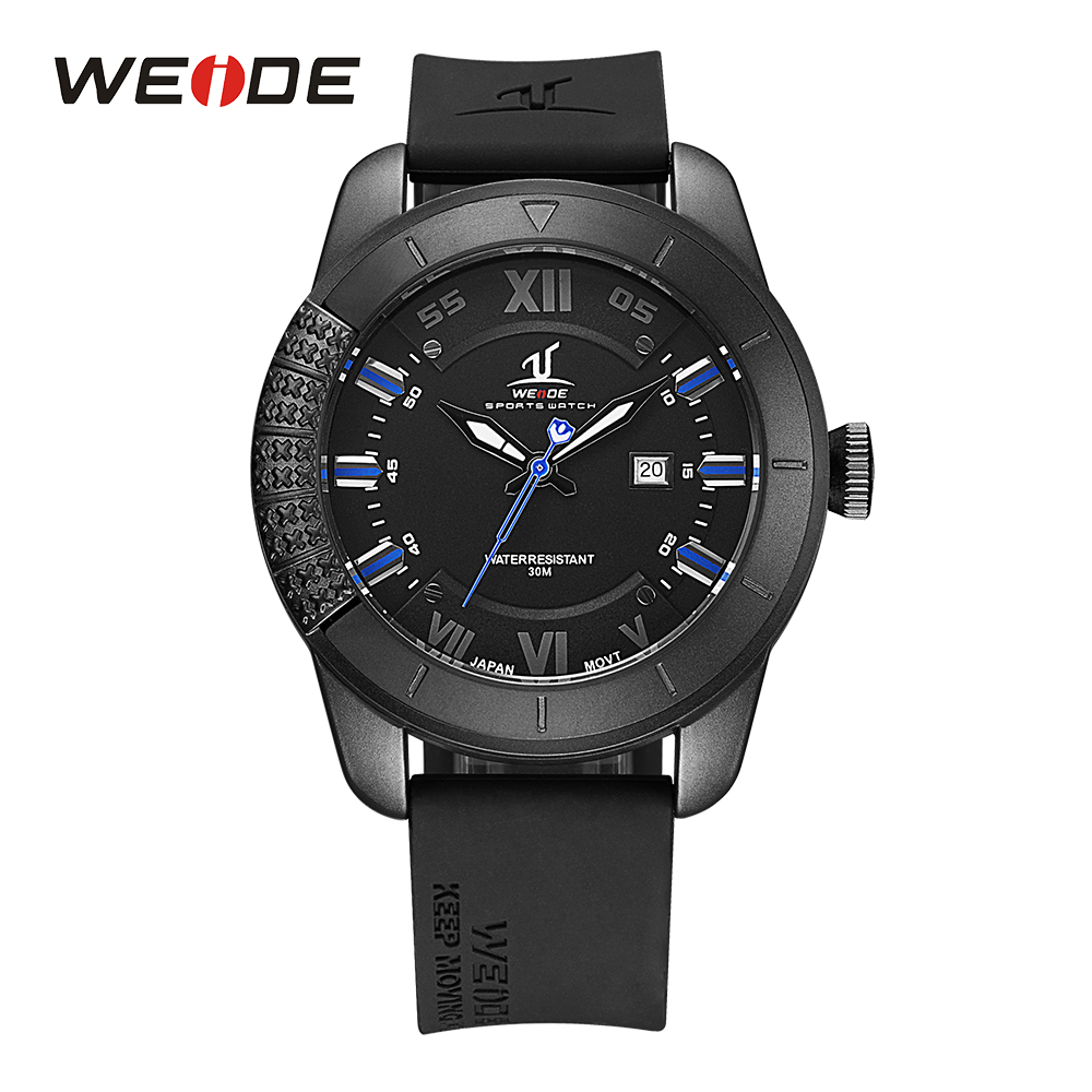 WEIDE Mens Quartz Movement Analog Display Calendar Watches Clock Date Black Rubber Strap Band Buckle Man Wristwatch For Sport hot sale weide men sport watches analog display quartz movement 30m waterproof stainless steel strap 2 buttons for decoration
