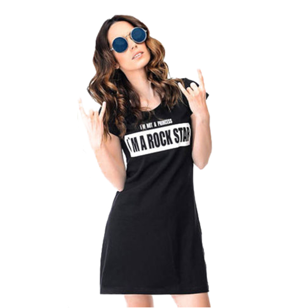 Summer Dress Letter Print Short Sleeve Baby Dress Family Outfits Summer Clothes For Women Vestidos