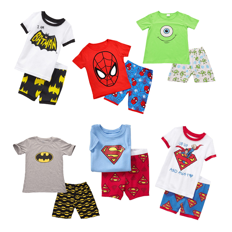 8dbf14be81ad Low Price Boy Pajamas Kids Summer Clothing Super Heros Children ...