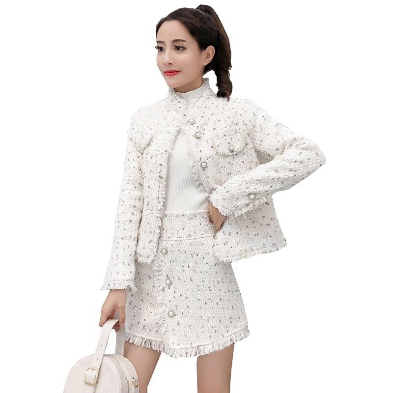 2019 Autumn Winter Elegant Women Tweed Two Piece Set White Striped Wool Tassel Jacket Crop Coat + Bodycon Buttons Mini Skirt Set