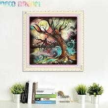 5pcs Aliexpress Value Set Diy Full Resin Round Diamond Painting Cross Stitch Embroidery Kit Tree And Moon Abstract Hobby Mosaic