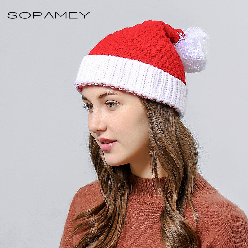 2017 NEW Christmas Hats Winter Girls Skullies Santa Claus Father Beanies Xmas Costume Christmas Ski Cap Adult Size for Women skullies
