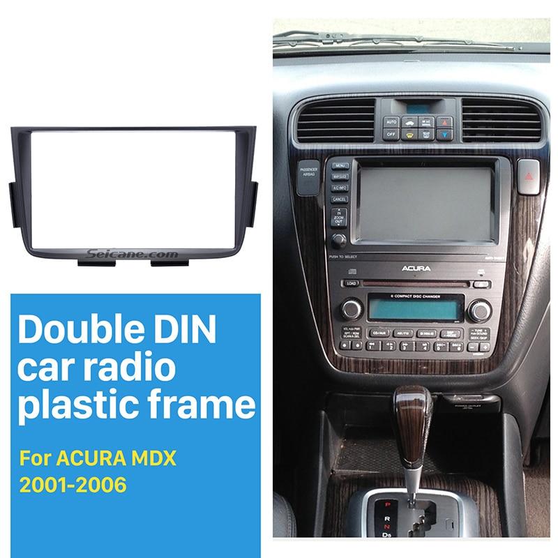 Seicane Black Double Din Car Radio Fascia for 2001 2002-2006 ACURA MDX Stereo Dash CD Installation Kit DVD GPS Frame Panel