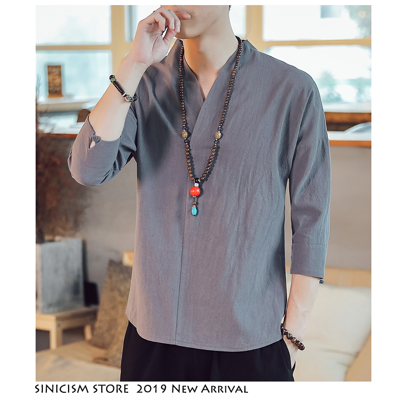 Sinicism Store Harajuku T Shirt Mens Fashion 2019 Summer Mens Cotton And Linen Tshirts Male White Funny Shirt Plus Size Clothing