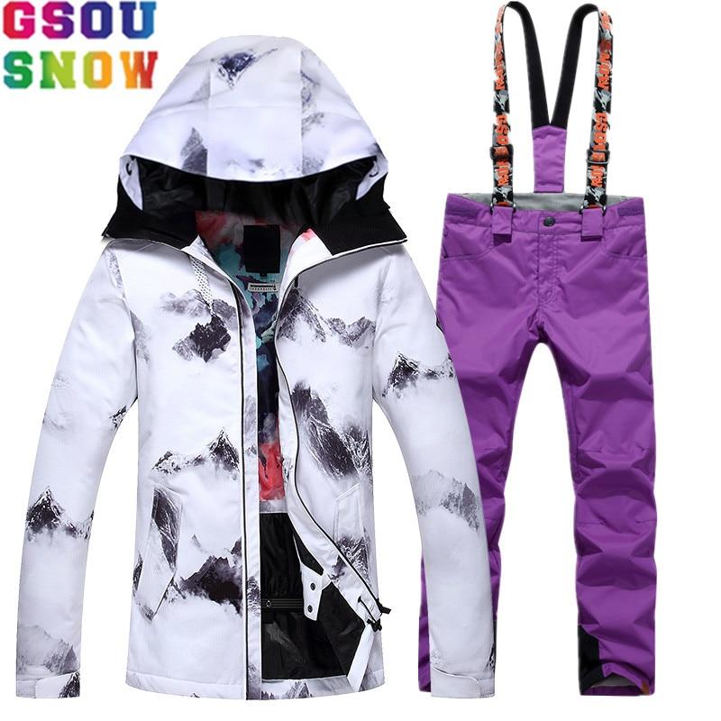 все цены на GSOUSNOW Waterproof Ski Suit Women Skiing Jacket Snowboard Pants Winter Cheap Ski Suit Skiing Snowboarding Outdoor Snow Clothing