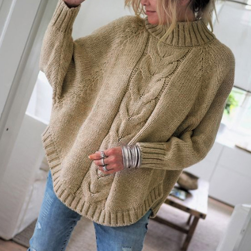 Women Solid Sweater Long Sleeve O-Neck  Batwing Sleeve knitting Sweater Tops Pullovers Cotton Blend Standard Thickness 8Z(China)