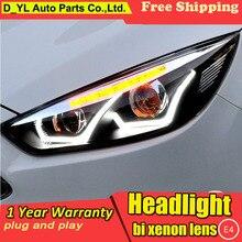 D_YL стайлинга автомобилей для Ford focus фары светодиодная фара для focus LED DRL Объектив Двойной Луч H7 спрятал bi Xenon объектива