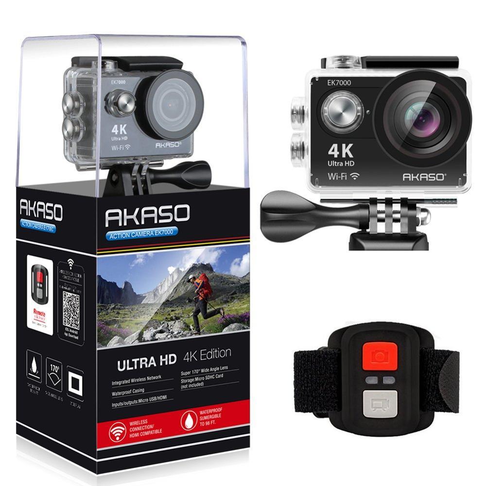 AKASO EK7000 4 K WIFI caméra d'action extérieure Ultra HD Go étanche Cam Pro casque de vélo vidéo Sports extrêmes mobile caméras cadeau