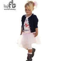 Retail Design Children Clothing Set For Kids Girl Dark Blue Cardigan T Shirt Pink Skirt High