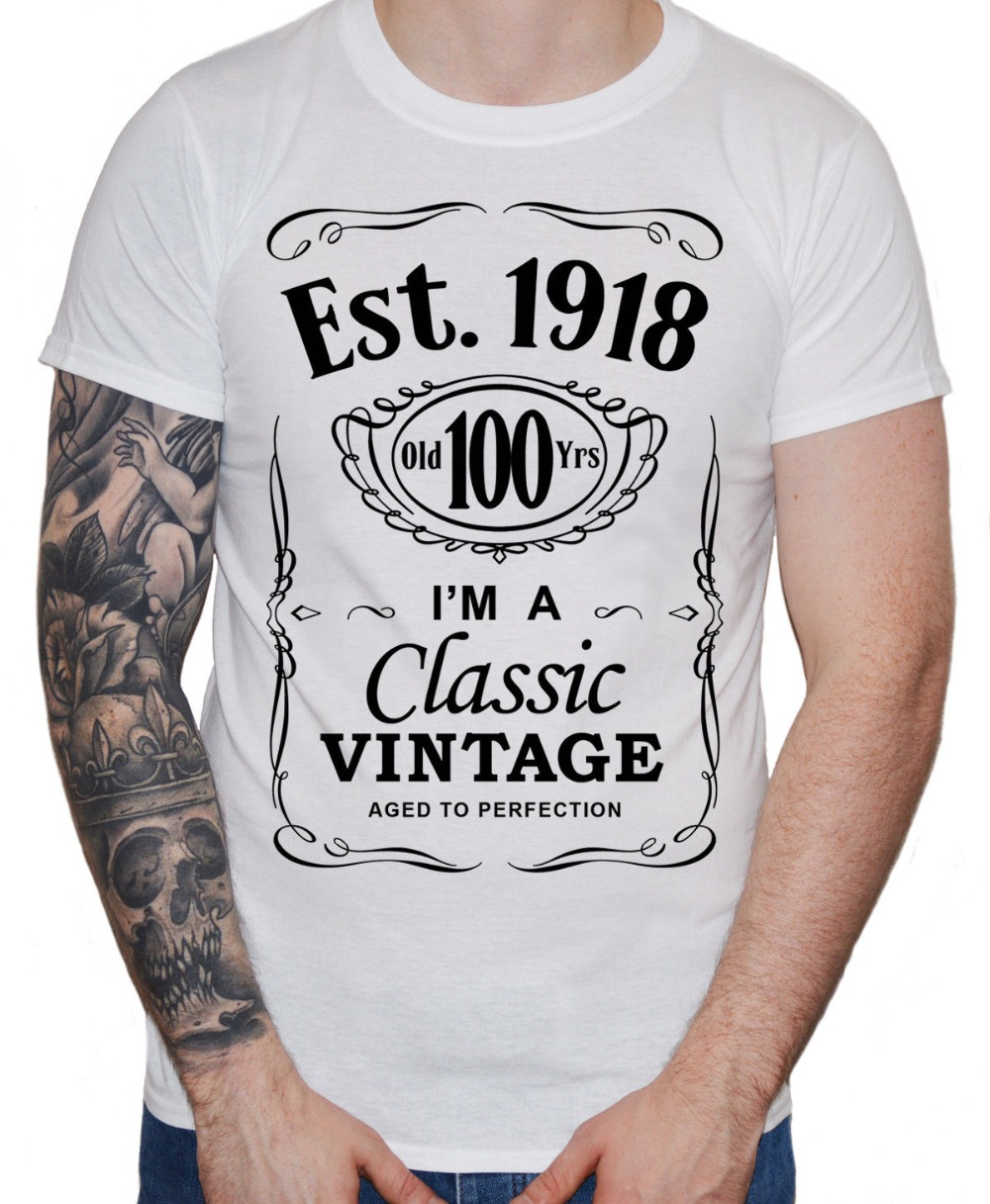 Customized Team Shirts Short Mens 100Th Birthday T Shirt 1918 Vintage Hundredth 100 Years Century Gift Men O Neck Sleeve In From