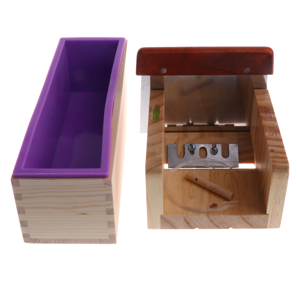 Silicone Savon Pain Moule DIY En Bois Couvercle Boîte Savon De Pin Cutter Slicer Outils Kit