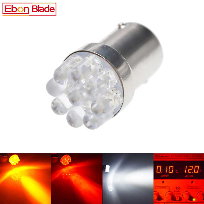 2/4 PCS 1157 LED BAY15D Bulbs P21/5W 9SMD LED Auto Brake Lights Tail Stop Motorcycle Vehicle Lamp Car Styling 12 White Red Amber