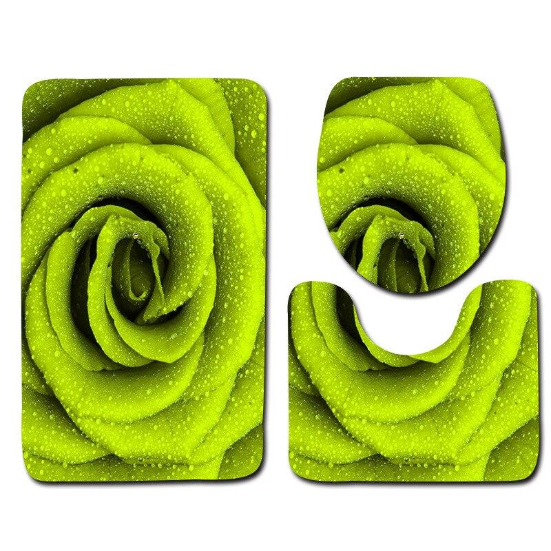 Flower Printed 3pcs Mats For Bathroom And Toilet Washable Pedestal Rug Lid Toilet Cover Carpet Absorbent Bath Rug Set Toilet Mat