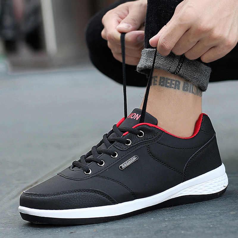 2019 ฤดูใบไม้ร่วงใหม่ผู้ชายรองเท้า Lace-Up รองเท้าแฟชั่นผู้ชายรองเท้าหนังผู้ชายรองเท้าผ้าใบฤดูหนาวรองเท้าผู้ชาย zapatillas Hombre