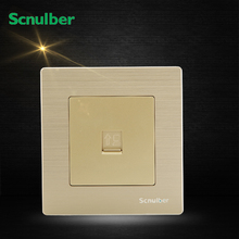 luxury champagne metal computer socket network RJ45 8Pin wall switch adapter