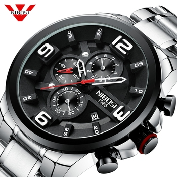 NIBOSI 2019 Fashion Men Watch Quartz Chronograph Clock Waterproof Casual Sports Men Wristwatch Big Dial Clock Relogio Masculino