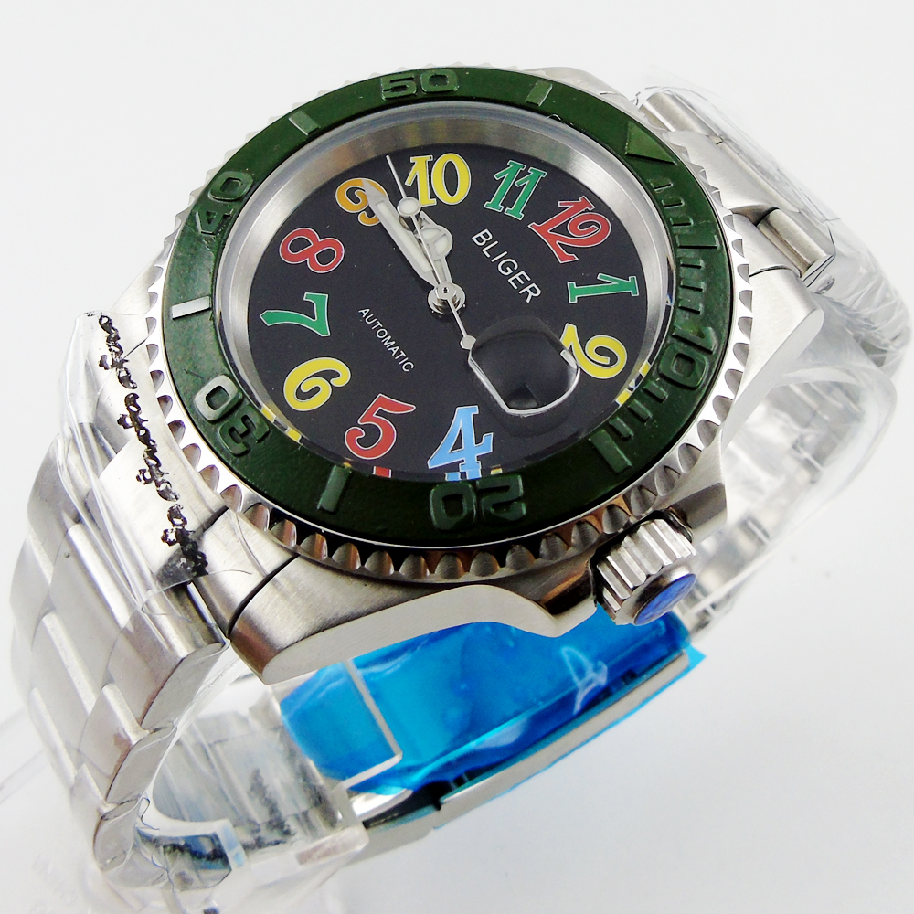 Bliger 40mm black dial date colorful marks saphire glass Automatic movement Men's watch magnat quantum 1009
