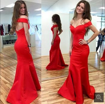New arrival red satin sexy off the shoulder evening dress formal open back sexy elegant mermaid evening gowns hot sale