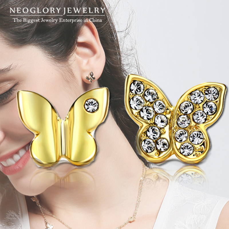 Neoglory Light Yellow Gold Color Austrian Fashion Butterfly Stud - Bisutería - foto 2