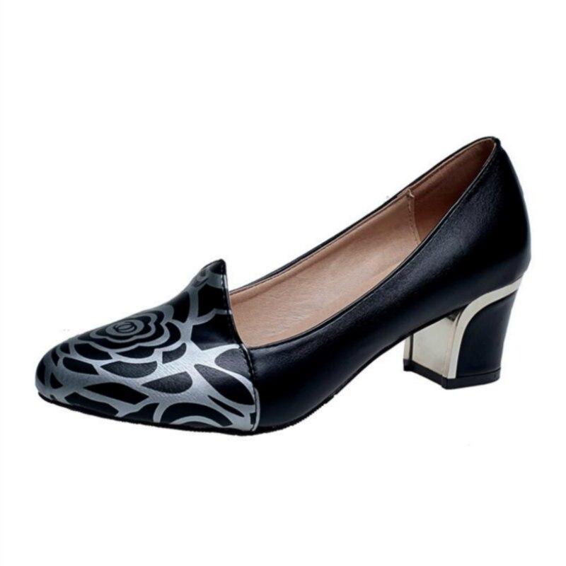 Chaussures Femme Talons Hauts Mode Imprimé Graffiti Peu Profonde chaussures de concepteur femmes luxe 2018 Printemps Taille 34-41 Travail Élégant chaussures
