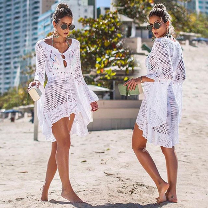 2019 Crochet White Knitted Beach Cover up dress Tunic Long Pareos Bikinis Cover ups Swim Cover up Robe Plage Beachwear in Cover Ups from Sports Entertainment