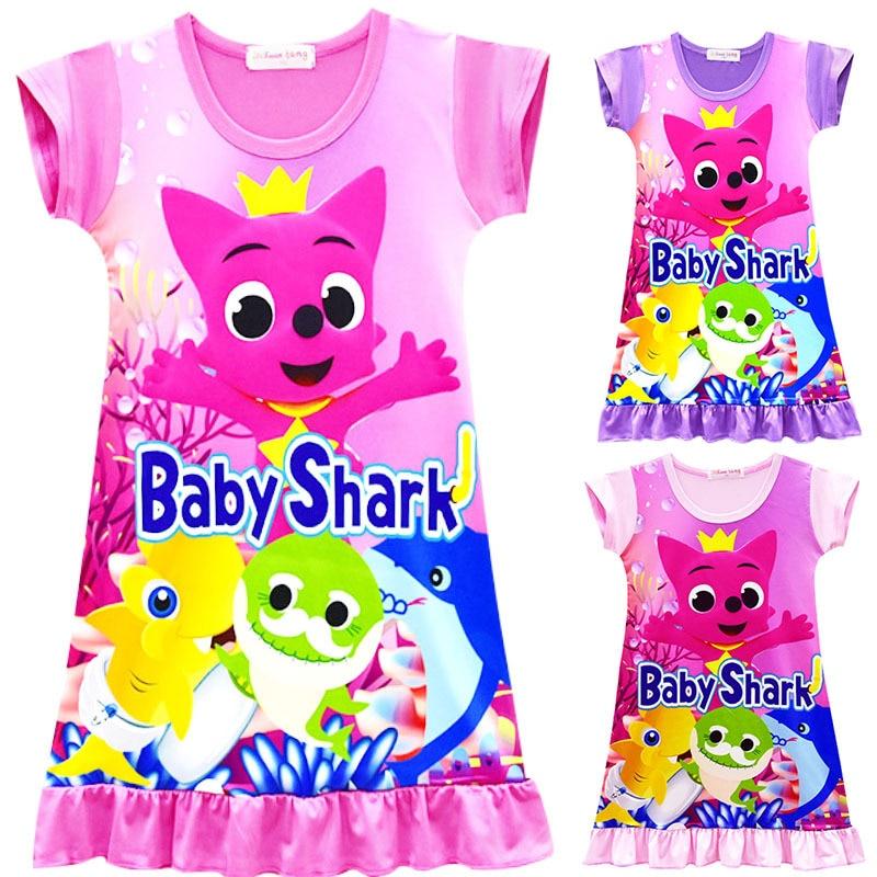 Baby girls dress baby shark touch fox print dress kids Nightdress pajams summer children clothing free shipping 3-8Y L010 bear print nightdress