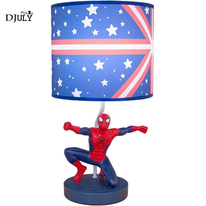 Işıklar ve Aydınlatma'ten LED Masa Lambaları'de Çocuk odası örümcek adam masa lambası kişilik erkek yatak odası başucu lambası yakışıklı çalışma masası ışık çocuklar için doğum günü hediyesi ev deco