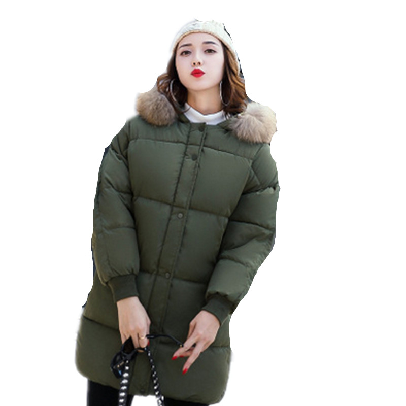 2017 New Women Winter Coat Fashion Hooded Thickening Super warm Medium long Parkas Long sleeve Loose Big yards Jacket 2017 new winter fashion women down jacket hooded thickening super warm medium long coat long sleeve slim big yards parkas nz131