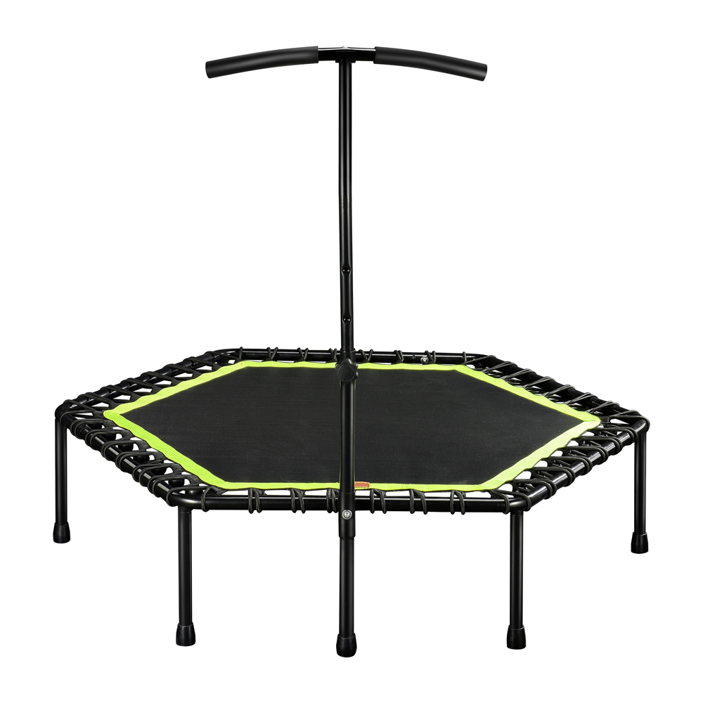 48 Inch Hexagonal Muted Fitness Trampoline with Adjustable Handrail for Indoor GYM Jump Sports Adults Kids Safety 3