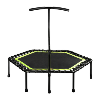 48 Inch Hexagonal Muted Fitness Trampoline with Adjustable Handrail for Indoor GYM Jump Sports Adults Kids Safety 8