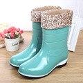 Nova tampa do algodão botas mid-bezerro à prova d' água sapatos de chuva das mulheres chuva botas de borracha de água charme da menina de boa qualidade botas tamanho 36-40