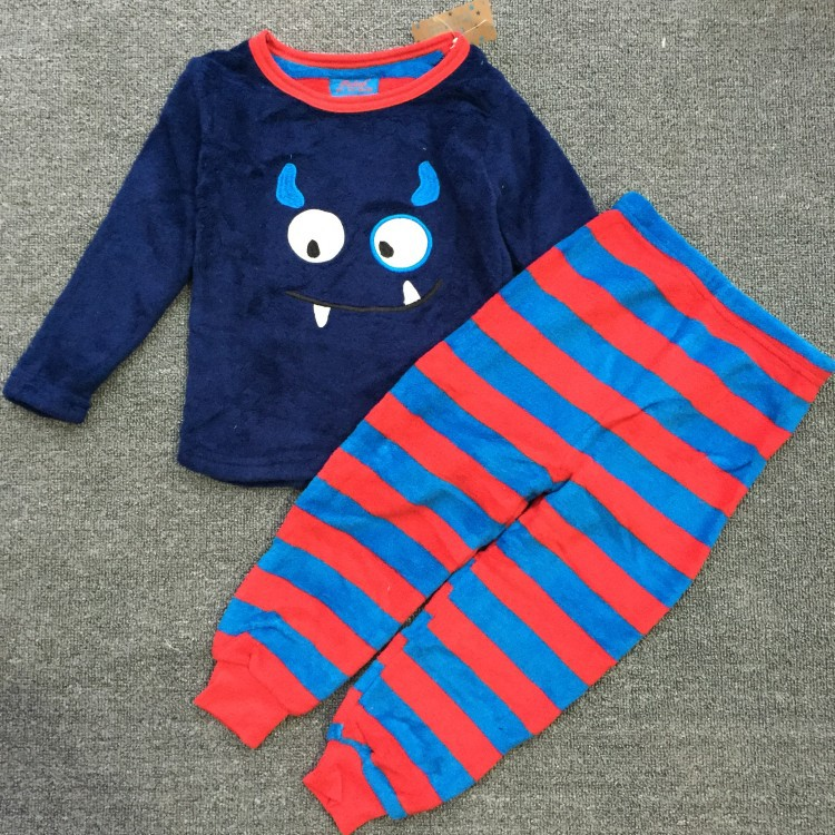Retail  Boys Coral Fleece Home Furnishing Suit Small Monster Boy Two Piece Suits