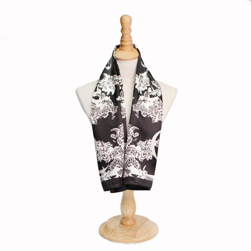 Мода черный шарф Для женщин хиджаб Гренадин печатные шейный платок женский атласный платок платки квадратный шелк Шарфы для женщин 90x90 см о...