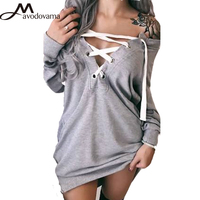 Avodovama M New Fashion Women Bandage Sexy V Neck Blouse Long Sleeve Solid Casual Lady Tops