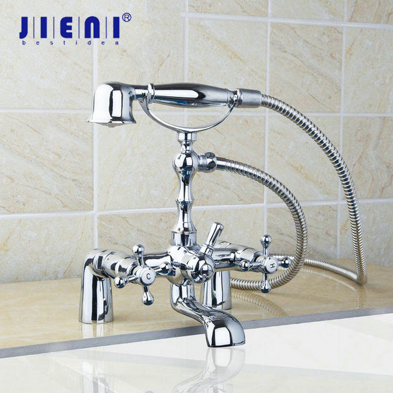 Telephone Style Shower Bathroom Basin Sink Faucet,Mixer Tap Bathtub Wall Mounted Double Handles Polished Gold Bathub+Handshower цена