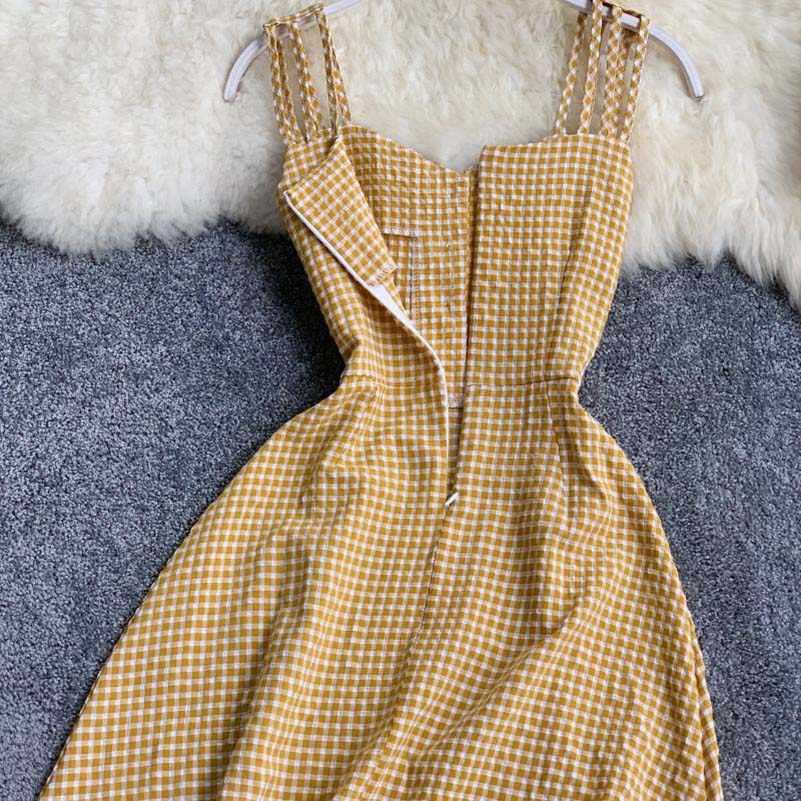 2019 Ретро оранжевое платье милое сказочное летнее клетчатое платье длиной до колена летнее платье 2019 сказочное французское платье на бретельках без бретелек Sle