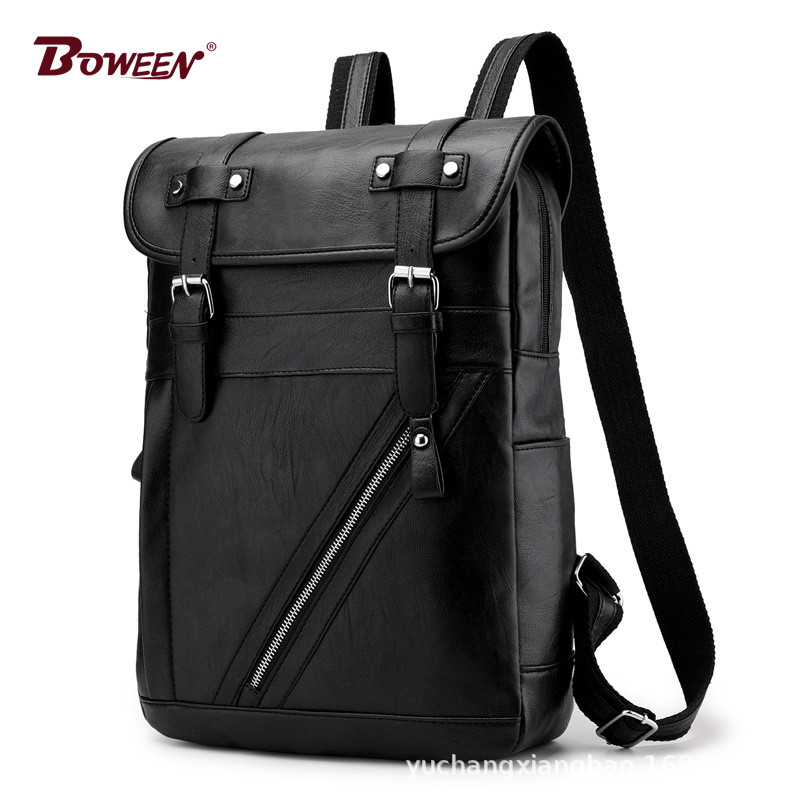 black vintage backpack men leather pu solid high quality back pack male Large capacity school bags Casual bagpack Mochila 2019