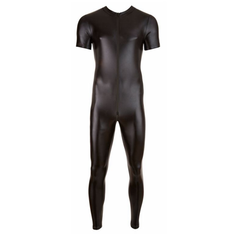 Black Wet Look Faux Leather Catsuit <font><b>Sexy</b></font> Lingerie for Men Spandex Bodysuit Hot Clubwear Erotic Male Costume S-<font><b>XXXL</b></font> Plus Size image