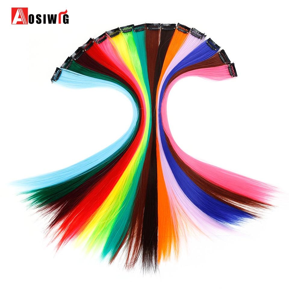 AOSIWIG 1 клип в длинные прямые пряди волос для наращивания искусственные шиньоны термостойкие синтетические поддельные только один волос